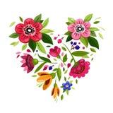 Cuore del fiore Cuore dai fiori Illustrazione di vettore per progettazione di festa Simbolo di amore, romantico, passione illustrazione di stock