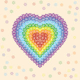 Cuore del fiore dell'arcobaleno Fotografie Stock