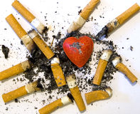 Cuore del fumatore Fotografia Stock Libera da Diritti