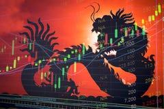 Cuore del grafico del mercato azionario della Cina Immagine Stock