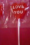 Cuore del Lollipop con amore voi Immagini Stock Libere da Diritti