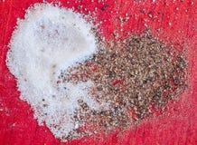 Cuore del pepe del sale Fotografia Stock