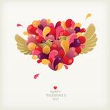 Cuore del ` s del biglietto di S. Valentino con gli uccelli Fotografia Stock