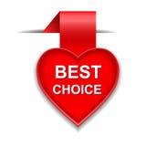 Cuore del segnalibro con il migliore messaggio choice Immagini Stock