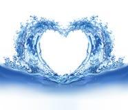 Cuore dell'acqua blu Fotografia Stock