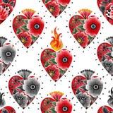 Cuore dell'acquerello con le decorazioni floreali Immagine Stock