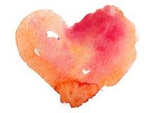 Cuore dell'acquerello. Concetto - amore, relazione, arte, dipingente Immagini Stock