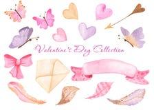 Cuore dell'acquerello, farfalle, busta, nastro, arco illustrazione vettoriale