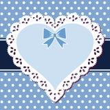 Cuore dell'azzurro del merletto Fotografie Stock Libere da Diritti