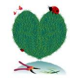 Cuore dell'erba del biglietto di S. Valentino di vettore Illustrazione di Stock