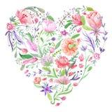 Cuore dell'illustrazione floreale dell'acquerello di estate illustrazione di stock