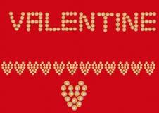 Cuore della bandiera del biglietto di S. Valentino del bigné Immagini Stock Libere da Diritti
