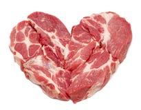 Cuore della carne di maiale isolato su bianco Fotografia Stock Libera da Diritti