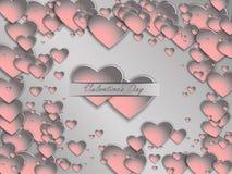 cuore della carta 3D su un fondo grigio Giorno del ` s del biglietto di S. Valentino della cartolina Fotografie Stock