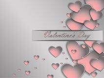 cuore della carta 3D su un fondo grigio Giorno del ` s del biglietto di S. Valentino della cartolina Immagini Stock
