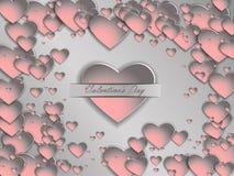 cuore della carta 3D su un fondo grigio Giorno del ` s del biglietto di S. Valentino della cartolina Fotografie Stock Libere da Diritti