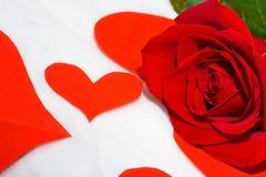 Cuore della carta e della rosa rossa Immagine Stock