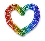 Cuore della catena dell'arcobaleno di LGBT fotografia stock libera da diritti