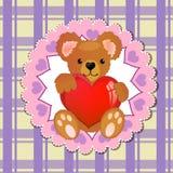Cuore della holding dell'orso dell'orsacchiotto Fotografia Stock