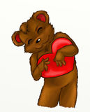 Cuore della holding dell'orso dell'orsacchiotto Fotografie Stock Libere da Diritti