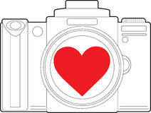 Cuore della macchina fotografica Fotografia Stock