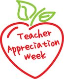 Cuore della mela di settimana di apprezzamento dell'insegnante illustrazione vettoriale