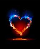 Cuore della raccolta del fuoco, concetto di amore Fotografie Stock
