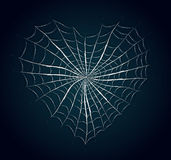 Cuore della ragnatela su fondo blu Fotografia Stock