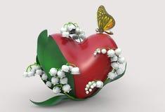 cuore della rappresentazione 3d con le foglie, i fiori del mughetto e la farfalla Fotografia Stock