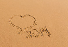 Cuore della sabbia 2014 anni Fotografia Stock Libera da Diritti