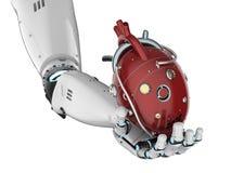 Cuore della tenuta del robot Fotografie Stock Libere da Diritti