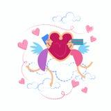 Cuore della tenuta delle coppie di angeli di scarabocchio di tiraggio della mano dello schizzo del biglietto di S. Valentino Fotografie Stock