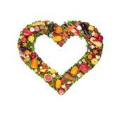 Cuore della verdura e della frutta Immagini Stock