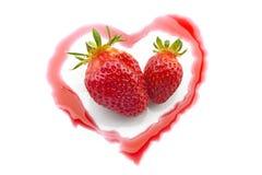 Cuore delle fragole Fotografia Stock