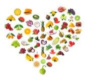 Cuore delle frutta e delle verdure Fotografia Stock Libera da Diritti