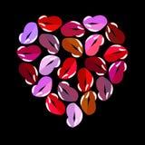Cuore delle labbra multicolori su un fondo nero St Giorno del ` s del biglietto di S royalty illustrazione gratis