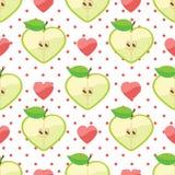 Cuore delle mele, cuore, pois nel picchiettio senza cuciture Fotografie Stock Libere da Diritti