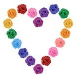 Cuore delle rose multicolori Immagini Stock