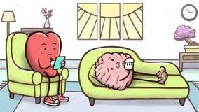 Cuore dello psicologo in una sessione di terapia con un cervello paziente sullo strato illustrazione vettoriale
