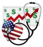 Cuore dello stetoscopio con la bandiera ed il grafico degli Stati Uniti Immagine Stock Libera da Diritti