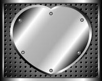 Cuore di acciaio su una griglia del metallo Fotografie Stock