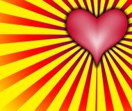 Cuore di amore con i raggi rossi e gialli Immagini Stock Libere da Diritti