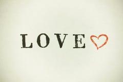 Cuore di amore con iscrizione Immagini Stock