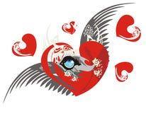 Cuore di amore con l'occhio e le ali del lupo Immagine Stock