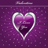 Cuore di amore del biglietto di S. Valentino Immagini Stock