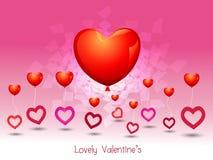Cuore di amore del pallone di giorno di biglietti di S. Valentino Fotografie Stock Libere da Diritti