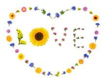Cuore di amore, fondo dei fiori dei biglietti di S. Valentino Vista superiore, disposizione piana Fotografie Stock