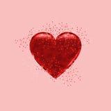 Cuore di amore su fondo rosa Fotografia Stock Libera da Diritti