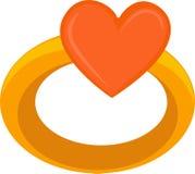 Cuore di amore sull'anello Fotografia Stock