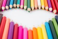 Cuore di belle matite colorate Fotografia Stock Libera da Diritti